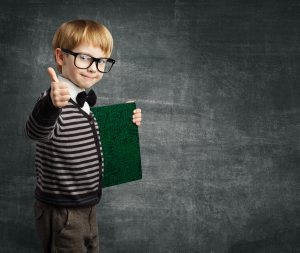 School Child in Glasses Thumbs Up Kid Boy Hold Book Certificate Successful Education